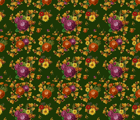 """7"""" AUTUMN BOOK FLOWERS / OLIVE fabric by shopcabin on Spoonflower - custom fabric"""