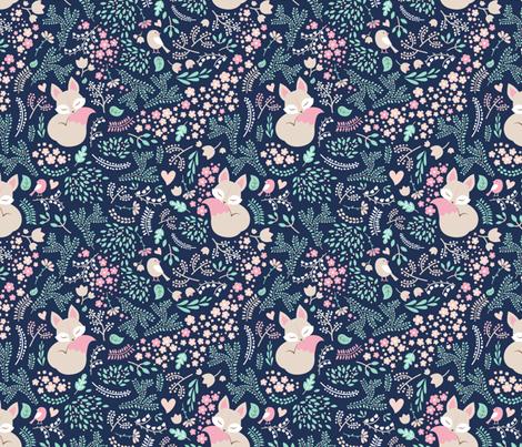 Sleeping Fox - navy mint - BIG fabric by ewa_brzozowska on Spoonflower - custom fabric