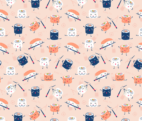 Sushi Kung Fu fabric by ewa_brzozowska on Spoonflower - custom fabric