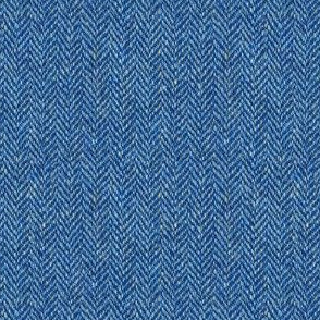 faux tweedy denim blue herringbone