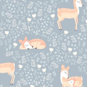 Love you Deer - winter grey blue