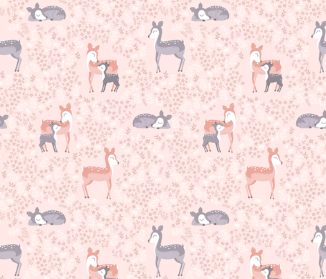 Love you Deer - pink coral fabric by ewa_brzozowska on Spoonflower - custom fabric