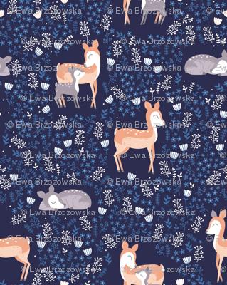 Love you Deer - navy floral