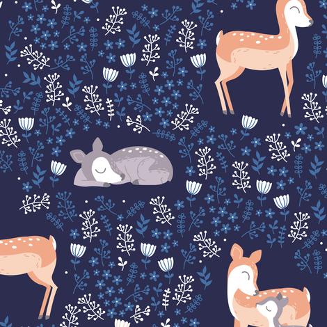 Love you Deer - navy floral fabric by ewa_brzozowska on Spoonflower - custom fabric