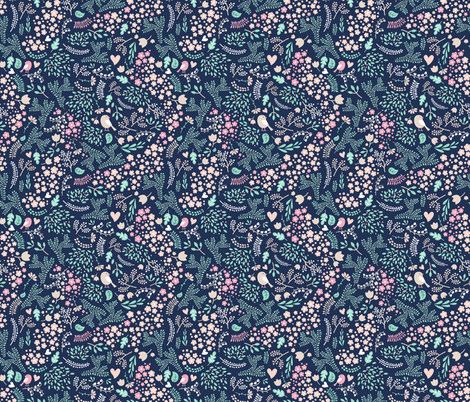 Sleeping Fox - complementary navy mint fabric by ewa_brzozowska on Spoonflower - custom fabric