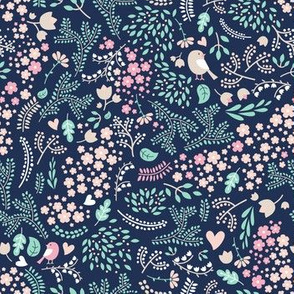 Sleeping Fox - complementary navy mint