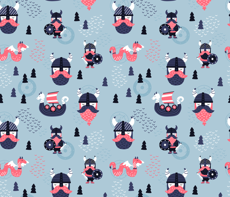 Scandinavian Vikings fabric by ewa_brzozowska on Spoonflower - custom fabric