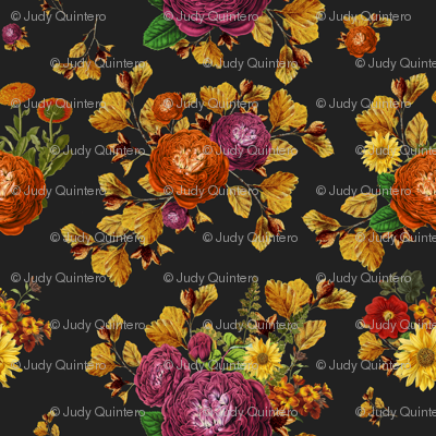 "21"" AUTUMN BOOK FLOWERS / CHARCOAL BLACK"