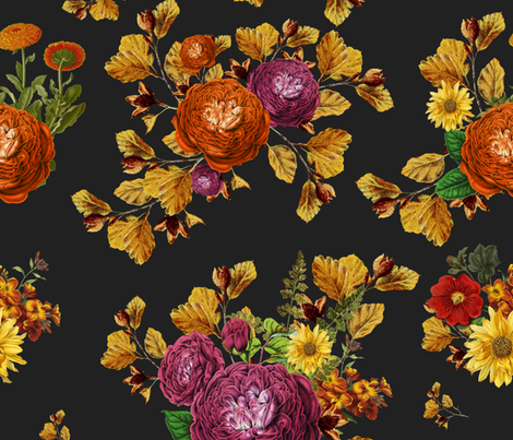"21"" AUTUMN BOOK FLOWERS / CHARCOAL BLACK fabric by shopcabin on Spoonflower - custom fabric"