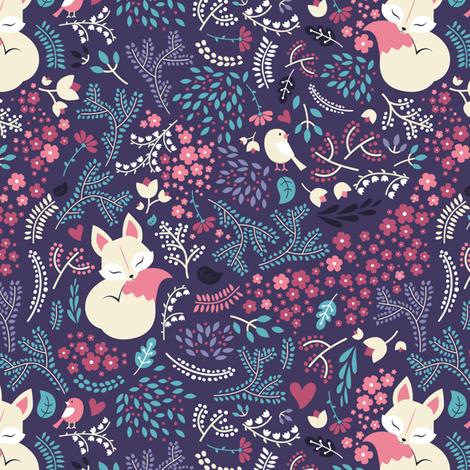 Sleeping Fox - dark violet purple fabric by ewa_brzozowska on Spoonflower - custom fabric