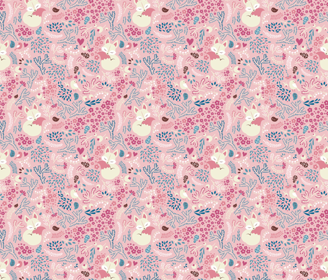Sleeping Fox - vintage pink fabric by ewa_brzozowska on Spoonflower - custom fabric
