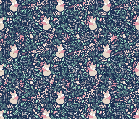 Sleeping Fox - navy mint fabric by ewa_brzozowska on Spoonflower - custom fabric