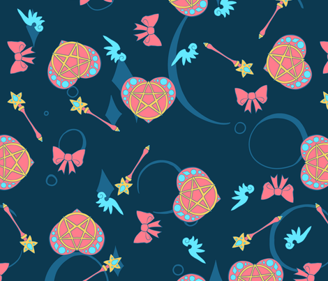 Magical Girl Toss - Night fabric by sweetingenuity on Spoonflower - custom fabric