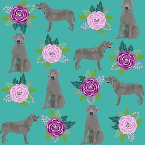 silver labrador fabric purple and teal fabric with silver labs