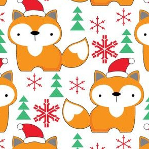 foxes-with-santa-hats