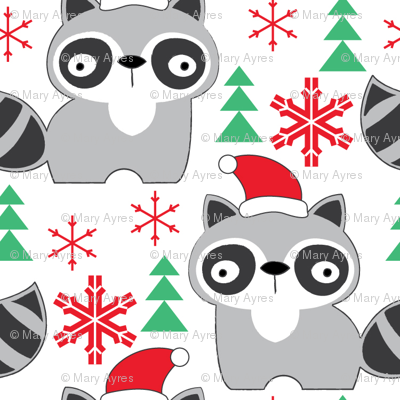raccoons-with-santa-hats
