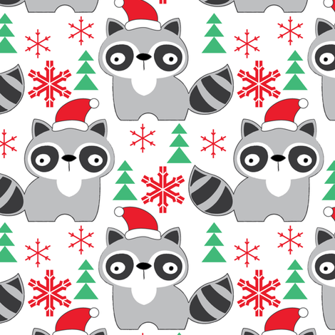 raccoons-with-santa-hats fabric by lilcubby on Spoonflower - custom fabric