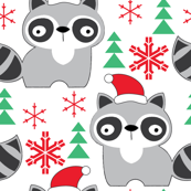 raccoons-with-santa-hats