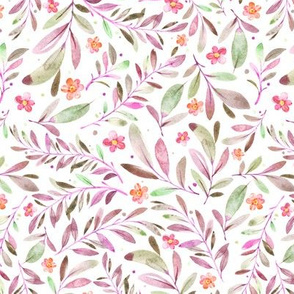 Watercolor Flowers & Branches in Greens, Purples and Pinks, SCALE D