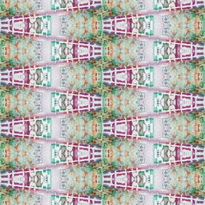 ETHNIC PINK GREEN SWEET WATERCOLOR STRIPES GEOMETRY