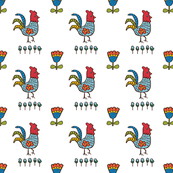 folk art roosters - white
