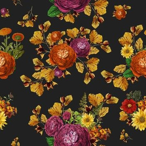 """7"""" AUTUMN BOOK FLOWERS / CHARCOAL GREY"""