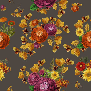 """21"""" AUTUMN BOOK FLOWERS / MUTED BROWN"""