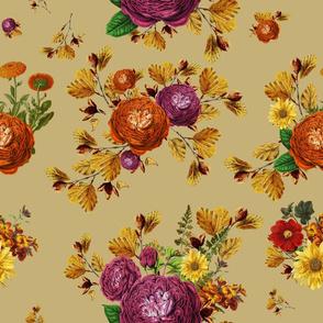 "21"" AUTUMN BOOK FLOWERS / MUTED MUSTARD"