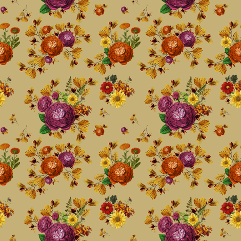 """4""""  AUTUMN BOOK FLOWERS / MUTED MUSTARD fabric by shopcabin on Spoonflower - custom fabric"""