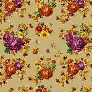 "4""  AUTUMN BOOK FLOWERS / MUTED MUSTARD"