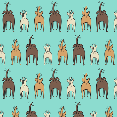 happy dogs - blue fabric by littlearrowdesign on Spoonflower - custom fabric