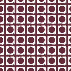 Circle Dots in Squares Maroon Upholstery Fabric