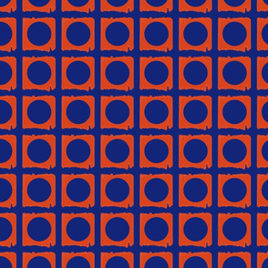 Dots in Squares Blue and Orange Upholstery Fabric