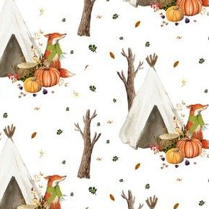 "4"" Sweet Fox in Autumn / White"