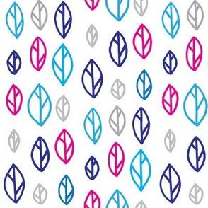 Modern Leaf Illustration Magenta Blue and Grey