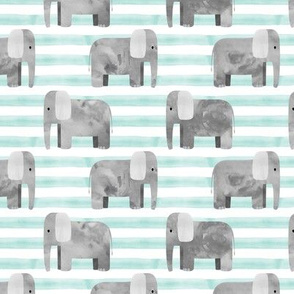 elephants - light aqua stripes
