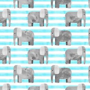 elephants - blue stripes