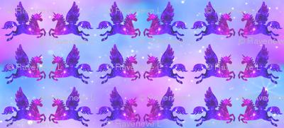 1 Pegasus winged unicorns pegacorns glitter sparkles stars universe galaxy nebula watercolor effect silhouette purple blue violet pink cosmic cosmos planets