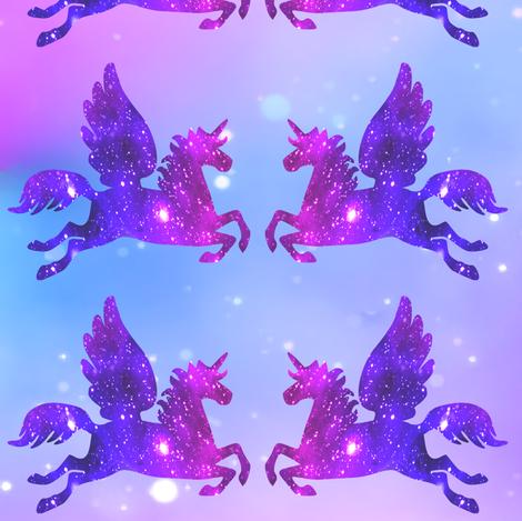 1 Pegasus winged unicorns pegacorns glitter sparkles stars universe galaxy nebula watercolor effect silhouette purple blue violet pink cosmic cosmos planets fabric by raveneve on Spoonflower - custom fabric