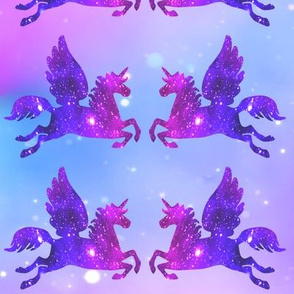 1 Pegasus winged unicorns pegacorns glitter sparkles stars universe galaxy nebula watercolor effect silhouette purple blue violet pink cosmic cosmos planets