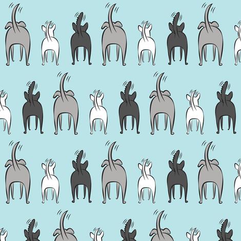 happy dogs- greys on blue fabric by littlearrowdesign on Spoonflower - custom fabric