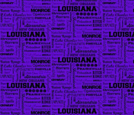 Louisiana cities, purple fabric by svester on Spoonflower - custom fabric