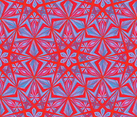 Diamond Star Blue Red fabric by cveti on Spoonflower - custom fabric