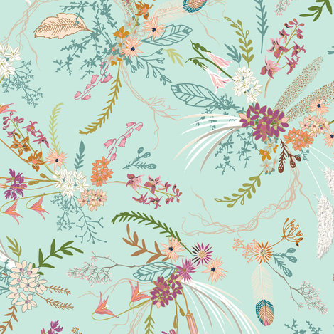 Sheba floral (mint) fabric by nouveau_bohemian on Spoonflower - custom fabric