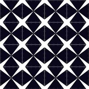 White X on Black Diamonds Upholstery Fabric