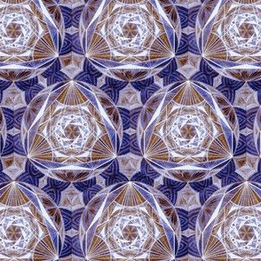 Sacred Geometry Pattern Fabric Blue