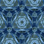 Sacred Geometry Pattern Fabric Blue
