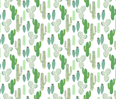 Various cacti desert vector seamless pattern fabric by yopixart on Spoonflower - custom fabric