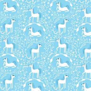 Unicorns in blue