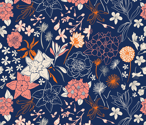 Spring flowers blue and coral fabric by natalia_gonzalez on Spoonflower - custom fabric